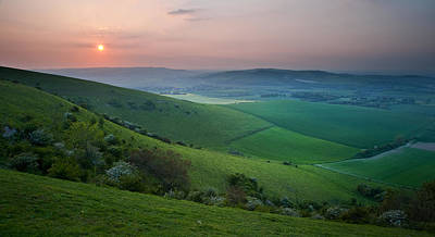 Sunset Over English Countryside Escarpment Landscape Art Print by Matthew Gibson