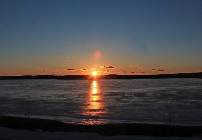 Photograph - Sunset Over Frozen Wachusett Reservoir 2 by Michael Saunders