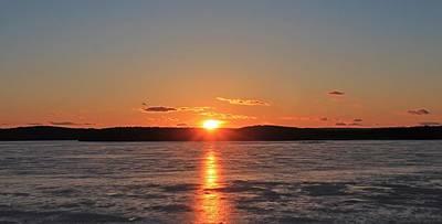 Photograph - Sunset Over Frozen Wachusett Reservoir 3 by Michael Saunders
