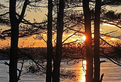 Photograph - Sunset Over Frozen Wachusett Reservoir by Michael Saunders