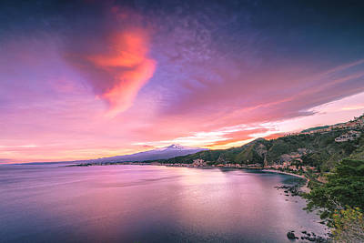 Photograph - Sunset Over Giardini Naxos by Mirko Chessari