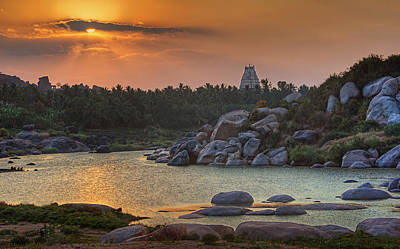 Music Map Photograph - Sunset Over Hampi by Arka Mukhopadhyay