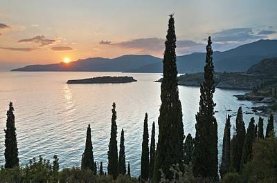 Sunset Over Kalamitsi Bay Near Kardamyli In Greece. Art Print