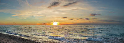 Benzie Photograph - Sunset Over Lake Michigan, Benzie by Panoramic Images