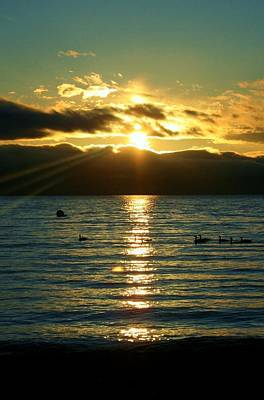Sunset Over Lake Tahoe Art Print by Ellen Heaverlo