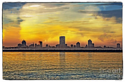 City Scape Digital Art - Sunset Over Milwaukee by Mary Machare