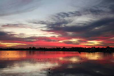 Art Print featuring the photograph Sunset Over Mission Bay  by Christy Pooschke
