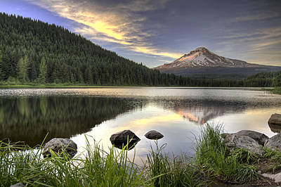 Hiking Photograph - Sunset Over Mount Hood At Trillium Lake by David Gn