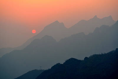 Photograph - Sunset Over Mountains by Songquan Deng