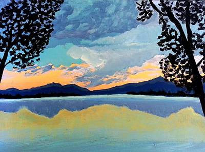 Painting - Sunset Over Northern Lake by Nikki Dalton
