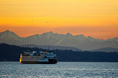 Puget Sound Photograph - Sunset Over Olympic Mountains by Dan Mihai