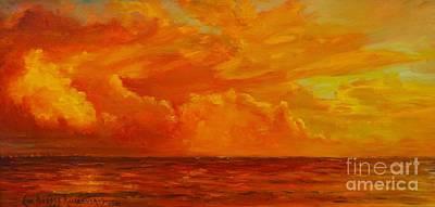 Oneida Painting - Sunset Over Oneida Lake by Eva Ramanuskas