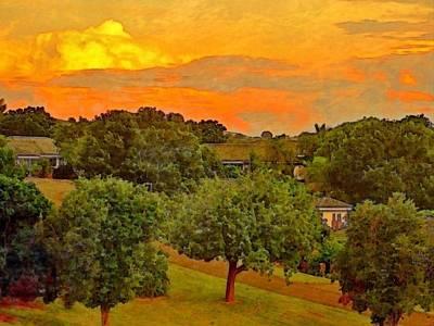 Digital Art - Sunset Over Orchard - Horizontal by Lyn Voytershark