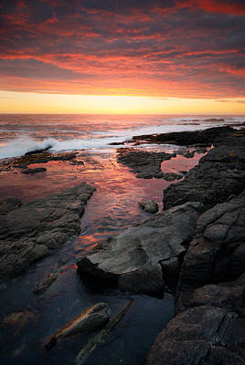 Wave Photograph - Sunset Over Rocky Coastline by Johan Swanepoel