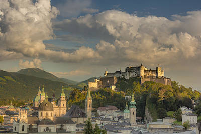 Fortress Photograph - Sunset Over Salzburg by Chris Fletcher