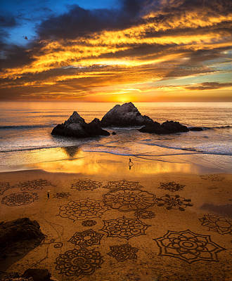 Sand Art Photograph - Sunset Over Sand Art by Fred Rowe