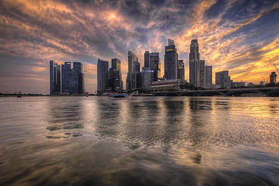 Central Photograph - Sunset Over Singapore Skyline by David Gn