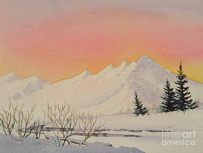 Sunrise Over Water Painting - Sunset Over Snowy Mountains by Teresa Ascone
