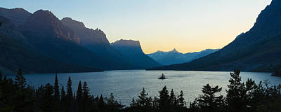 Sunset Over St. Mary Lake With Wild Art Print by Panoramic Images