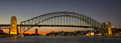 Sunset Over Sydney Harbour Bridge Art Print by Kevin Hellon