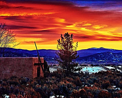 Photograph - Sunset Over Taos Valley by Charles Muhle