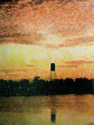 Mixed Media - Sunset Over Tarpon Springs by Florene Welebny