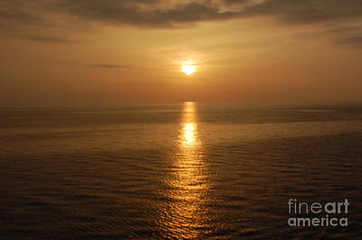 Sunset Over The Adriatic Art Print by Linda Prewer