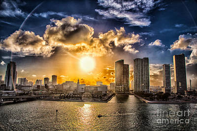 Miami Skyline Photograph - Sunset Over The Arena Hdr by Rene Triay Photography