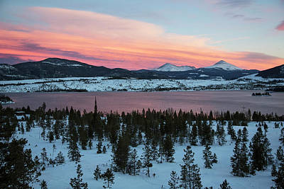 Snow-covered Landscape Photograph - Sunset Over The Dillon Reservoir by Jim West