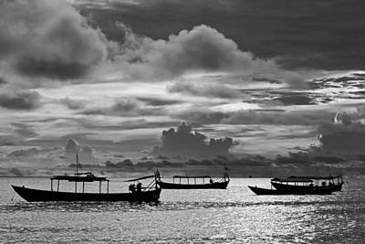 Photograph - Sunset Over The Gulf Of Thailand Black And White by David Freuthal
