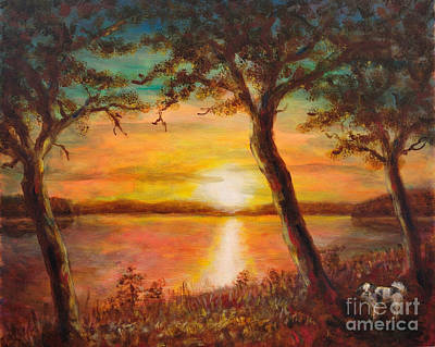 Beautiful Scenery Painting - Sunset Over The Lake by Martin Capek