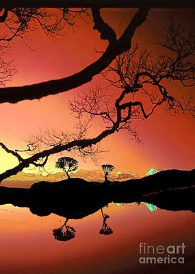 Digital Art - Sunset Over The Mirror Lake by Rudi Prott