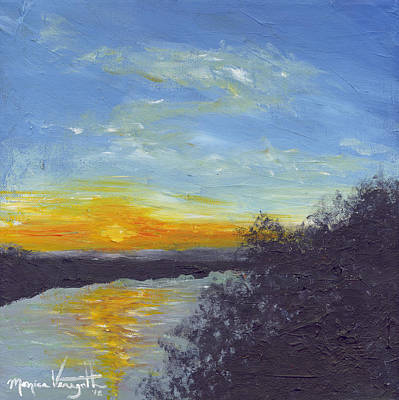 Painting - Sunset Over The Mississippi by Monica Veraguth