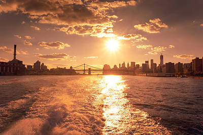 Sunset Over The New York City Skyline Print by Vivienne Gucwa
