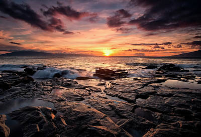 Splashing In The Tide Photograph - Sunset Over The Ocean With Wet Black by Scott Mead