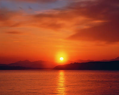 Large Format Photograph - Sunset Over The Olympic Mountains by Jaynes Gallery