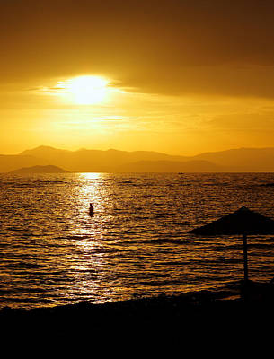 Aegina Photograph - Sunset Over The Peloponnese by Paul Cowan