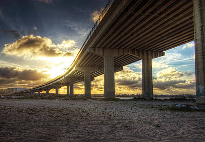 Digital Art - Sunset Over The Perdido Bridge by Michael Thomas