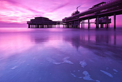 Art Print featuring the photograph Sunset Over The Pier by Mihai Andritoiu