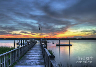 Sunset Over The River Art Print