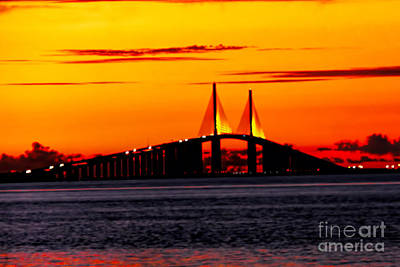 Photograph - Sunset Over The Skyway Bridge Crop by Barbara Bowen