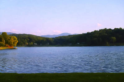 Smoky Mtn Sunset From Lake Junaluska Art Print by Chris Flees