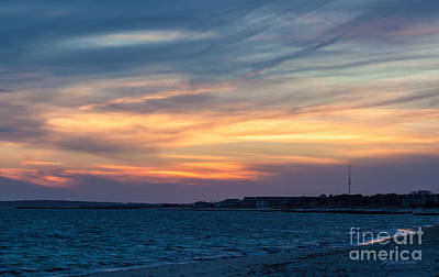Sunset Over The Sound Art Print by Michelle Wiarda