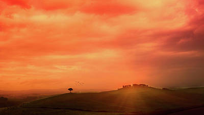 Photograph - Sunset Over The Tuscan Hills by Deimagine