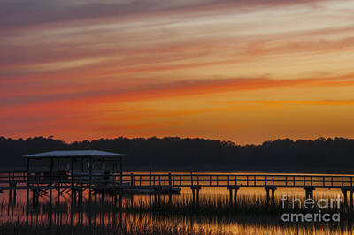 Sunset Over The Wando River Art Print by Dale Powell