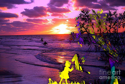 Sunset Over The Water While Children Play Art Print by Marvin Blaine