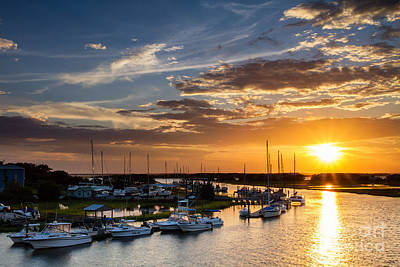 Sunset Over Tiger Point Marina Amelia Island Florida Art Print by Dawna  Moore Photography