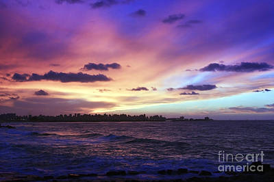 Art Print featuring the photograph Sunset Over Town And Sea Water by Mohamed Elkhamisy