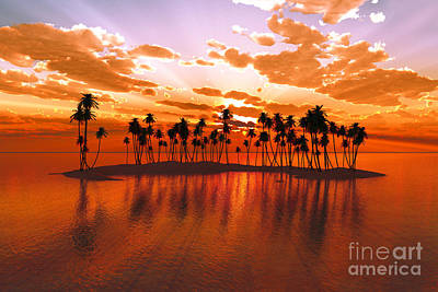 Coconuts Digital Art - Sunset Over Tropic Atoll by Aleksey Tugolukov