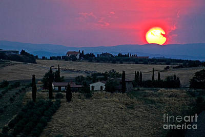 Photograph - Sunset Over Tuscany In Italy by Tim Holt